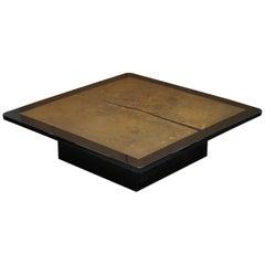 Huge Designer Bronze Ornately Floral Engraved Coffee Table Black Lacquered Frame