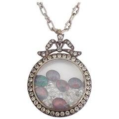 Huge Edwardian Silver Paste Shaker Locket Pendant Necklace