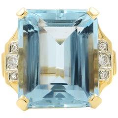 Huge Emerald Cut Aquamarine 23.76 Carat Yellow Gold Ring 14 Karat