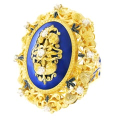 Huge Enamel and Diamond-Set Baronial Chic Ring