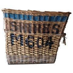 Huge English Wool Mill Basket, Industrial, Early 20th Century, Heavy Wicker
