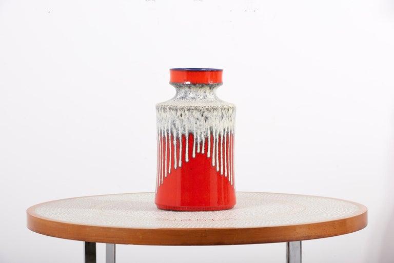 Mid-Century Modern Huge Fat Lava Ceramic Floor Vase by Bay Keramik, West-Germany, 1960s For Sale