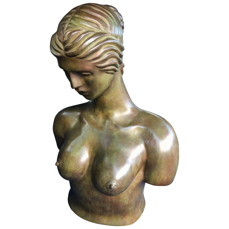 Huge Female Bronze Nude Sculpture by John Destefano