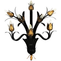 Huge Foliate Floral Wall Sconce in Black and Gilt Iron, 1950s