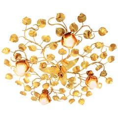 Huge Four Lights Gilt Iron Ornate Flower Bush Ceiling Light Fixture / Wall Light