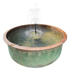 Huge French 19th C Copper Cheese Vat with Natural Verdigris Patina