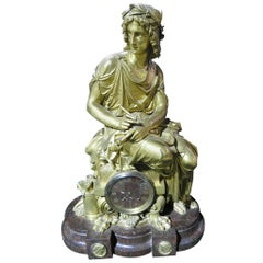 Huge French Bronze Figural Clock on Rouge Marble Base, circa 1870s