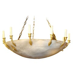 Huge French Empire Style Alabaster Chandelier