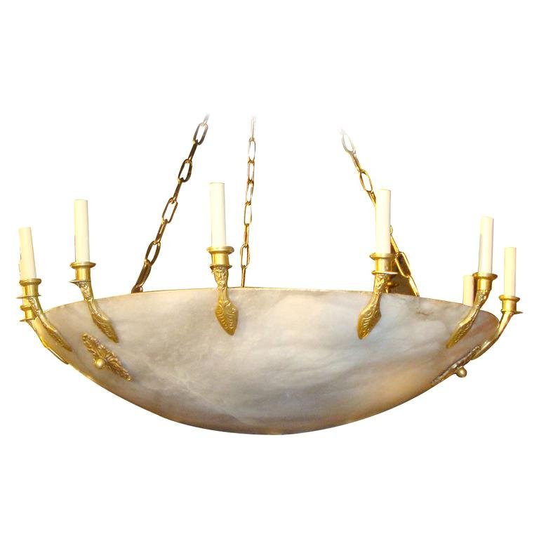 Huge French Empire Style Alabaster Chandelier For Sale