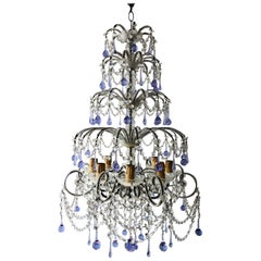 Huge French Murano Lavender Drops and Crystal Swags Chandelier, circa 1920