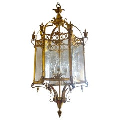 Huge French Regency Style Brass Bronze Lantern with Six Curved Cut Glass Panels