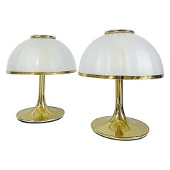 Huge Gabriella Crespi Style Brass Table Lamps, Blown Shades, 1970s, Italy