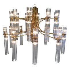 Huge Gaetano Sciolari Brass and Glass Chandelier