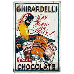 Huge Ghirardelli Chocolate Parrot Mascot Painted Wood Advertising Sign, 1930s