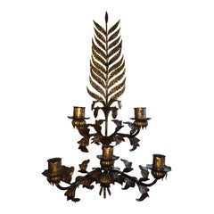 Huge Gilded Iron Wall Sconce