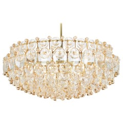 Huge Gilt Brass and Crystal Chandelier, Sciolari Design by Palwa, Germany, 1970s
