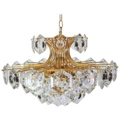 Huge Gilt Brass and Crystal Glass Chandelier by Kinkeldey, Germany, 1960s