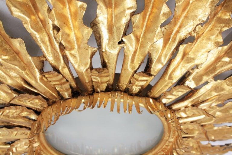 Huge Gilt Iron Leafed Sunburst Flush Mount Light Fixture or Mirror, Spain 1940s For Sale 3
