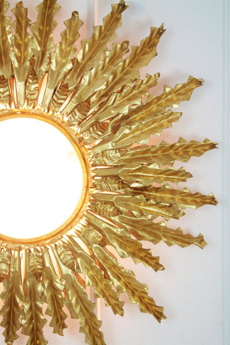 Huge Gilt Iron Leafed Sunburst Flush Mount Light Fixture or Mirror, Spain 1940s For Sale 4