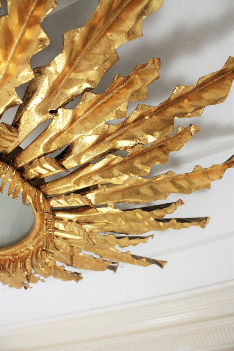 Huge Gilt Iron Leafed Sunburst Flush Mount Light Fixture or Mirror, Spain 1940s For Sale 5