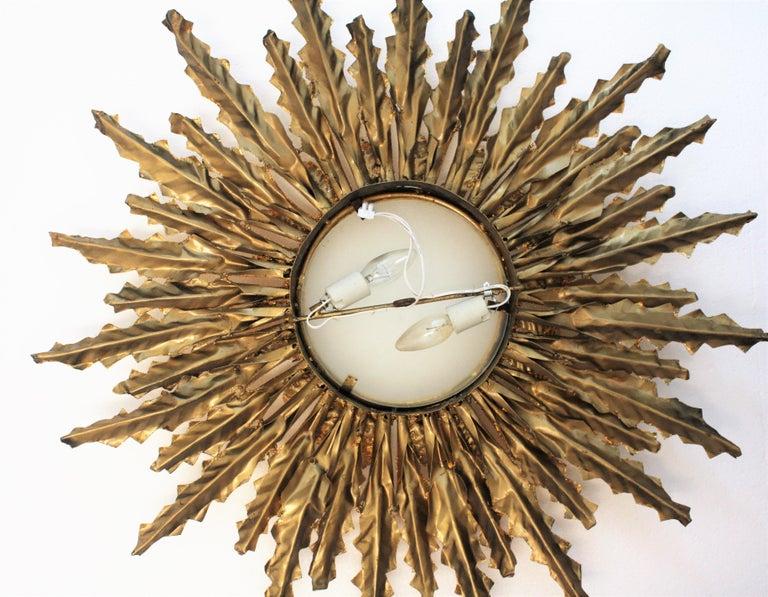 Huge Gilt Iron Leafed Sunburst Flush Mount Light Fixture or Mirror, Spain 1940s For Sale 6