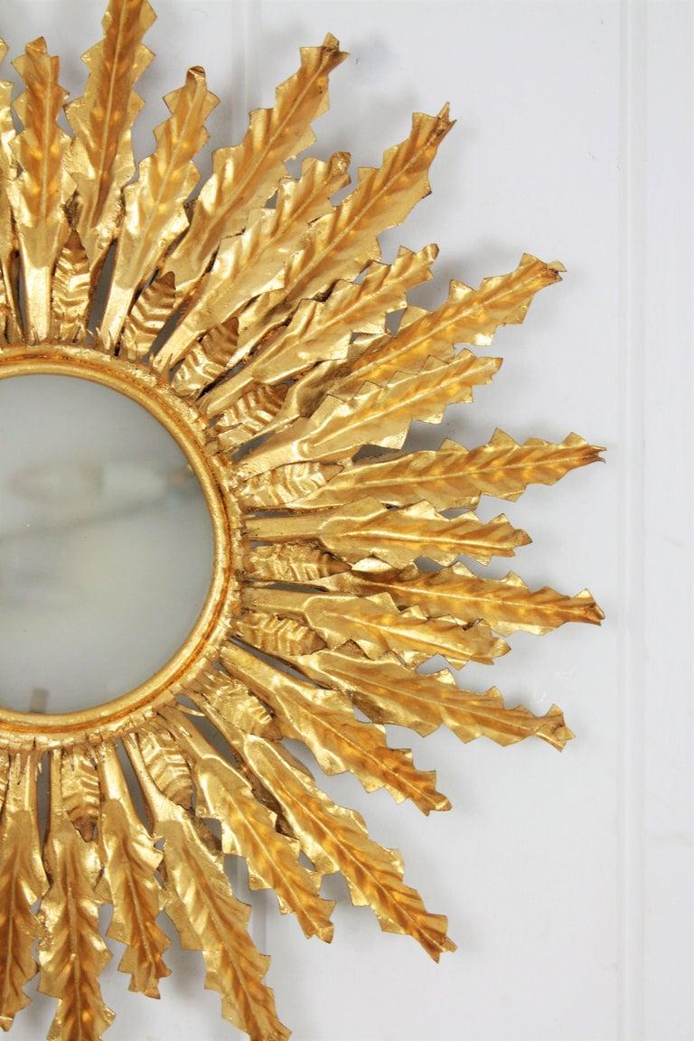 Huge Gilt Iron Leafed Sunburst Flush Mount Light Fixture or Mirror, Spain 1940s For Sale 1