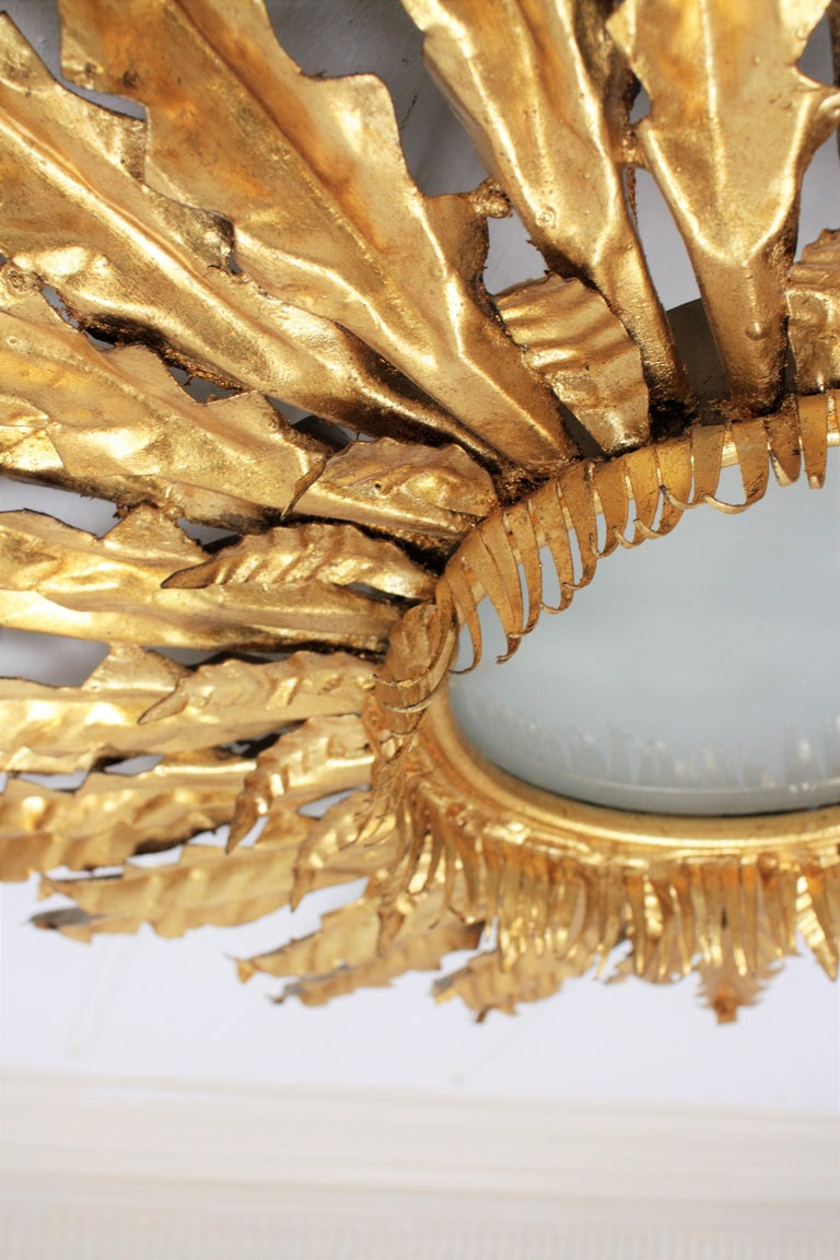 Huge Gilt Iron Leafed Sunburst Flush Mount Light Fixture or Mirror, Spain 1940s For Sale 2