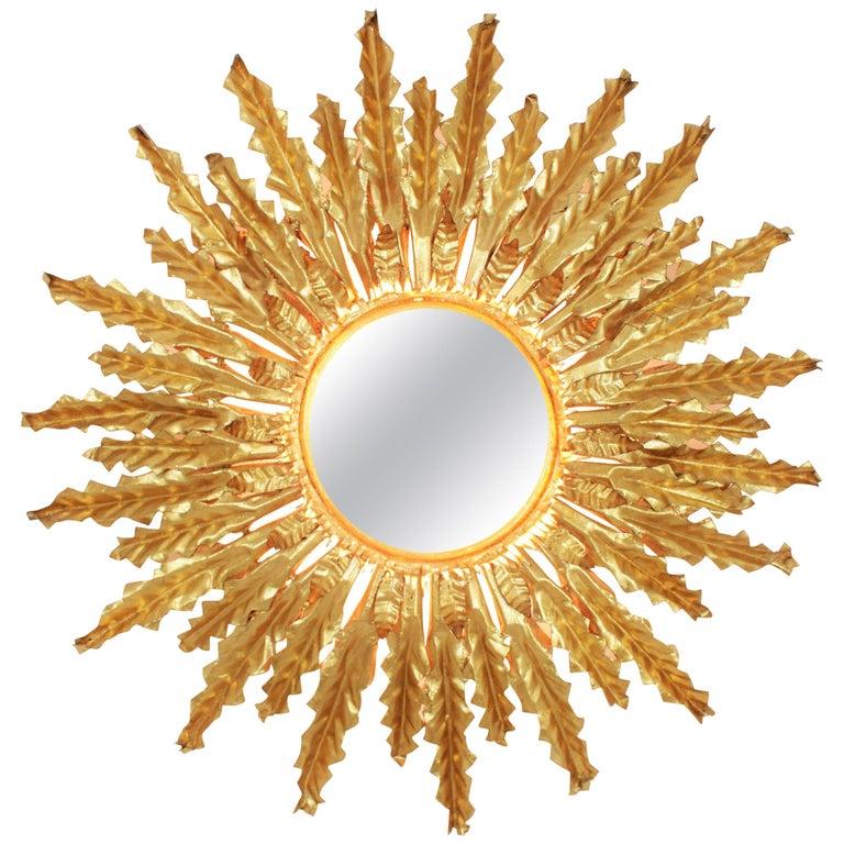 Huge Gilt Iron Leafed Sunburst Flush Mount Light Fixture or Mirror, Spain 1940s For Sale