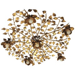 Huge Gilt Wrought Iron Ornate Floral Five-Light Flush Mount / Light Fixture