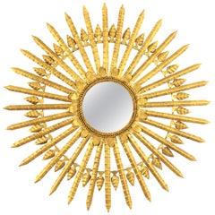 Huge Gilt Wrought Iron Sunburst Mirror, Spain, 1950s