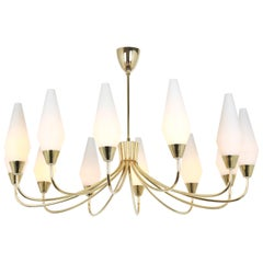 Huge Glass Classic Chandelier, in the Style of Stilnovo, 1950s