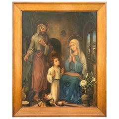 Huge Gothic Art Painting from Holy Family by Lou Asperslagh in Stylish Oak Frame