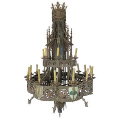 Huge Gothic Iron Chandelier