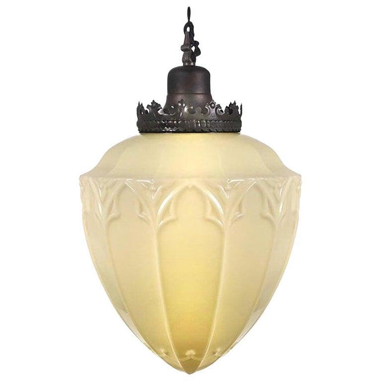 Huge Gothic Vaseline Glass Pendent For Sale