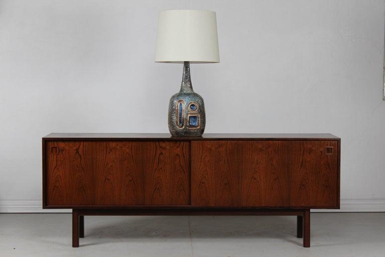 Mid-Century Modern H 35 inch Huge Danish Brutalist Sejer Ceramic Sculptural Table Lamp, 1960s For Sale
