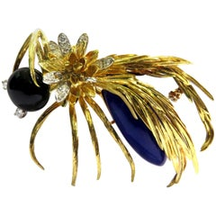 Huge Hammerman Brothers Platinum Gold Wasp Pin Brooch With Diamonds Lapis & Onyx