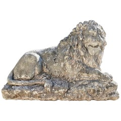 Huge Hand Carved Stone Lion Sculpture Garden Center Piece Statue Antique