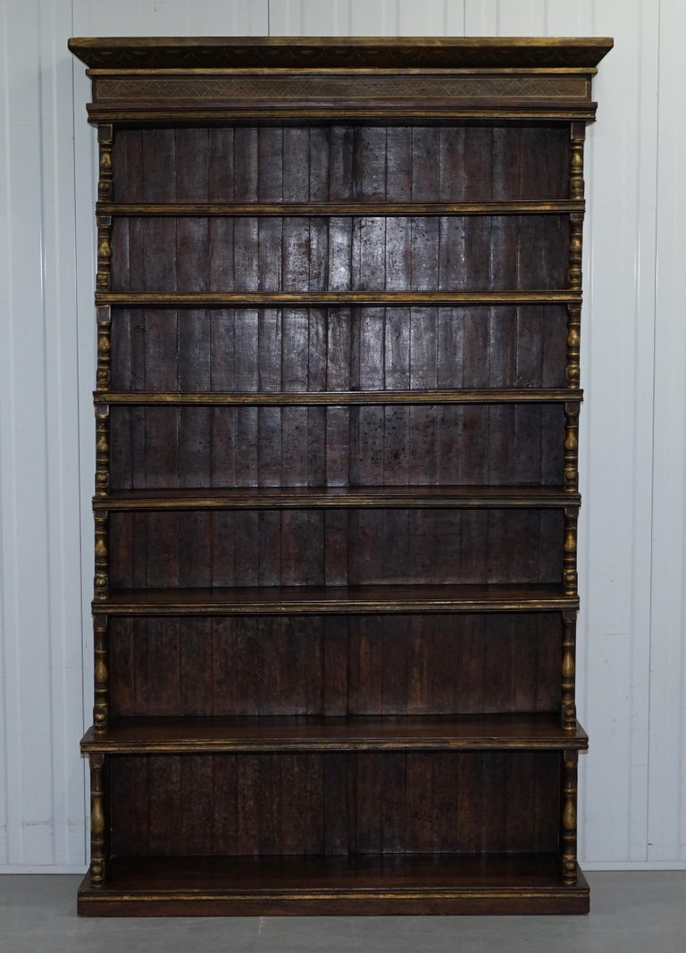 Huge Hand Painted Oak Waterfall Library Bookcase Gold Leaf