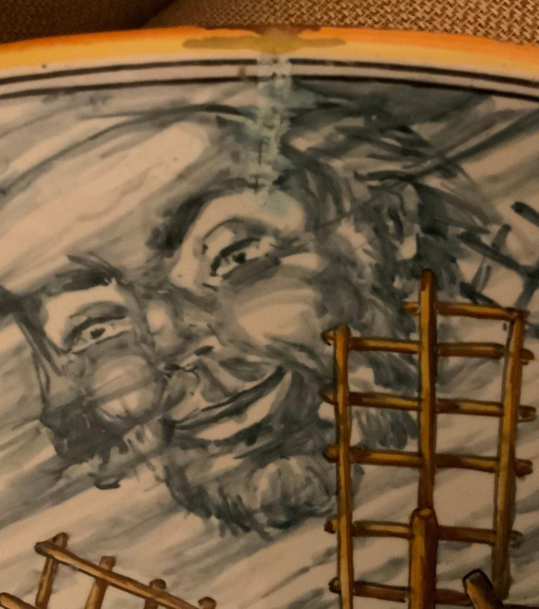 Hand-Crafted Huge Hand Painted Spaniard Majolica Wall Plate of Don Quixote and Sancho For Sale