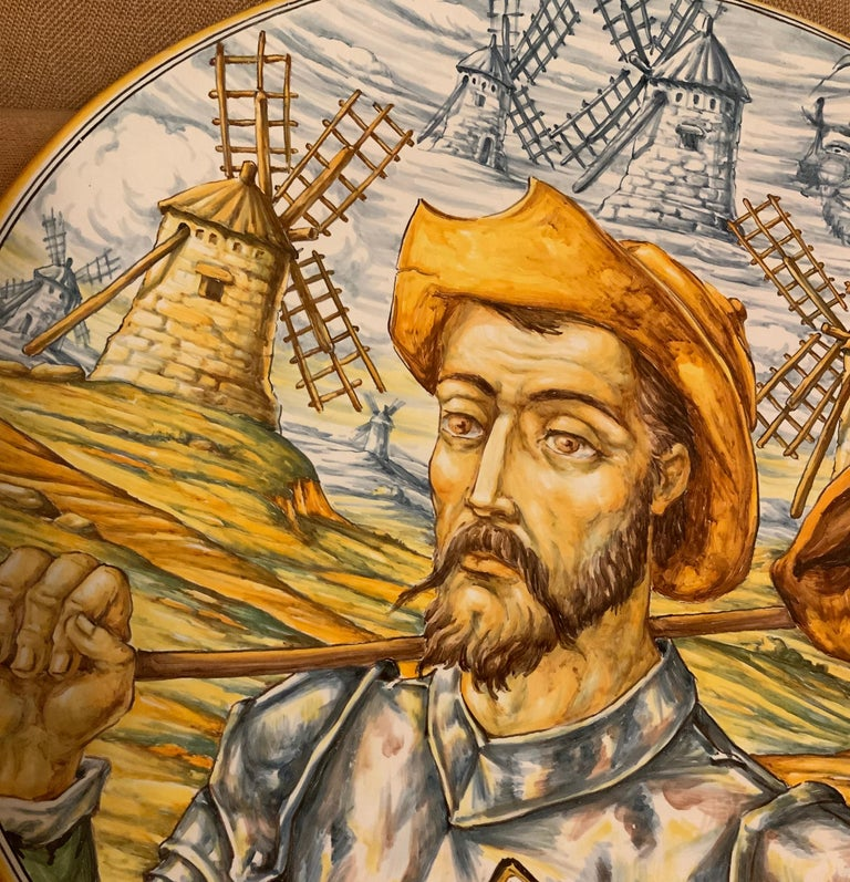 Huge Hand Painted Spaniard Majolica Wall Plate of Don Quixote and Sancho In Good Condition For Sale In Guaynabo, PR