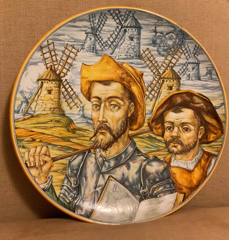 Huge Hand Painted Spaniard Majolica Wall Plate of Don Quixote and Sancho For Sale 1