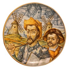 Huge Hand Painted Spaniard Majolica Wall Plate of Don Quixote and Sancho