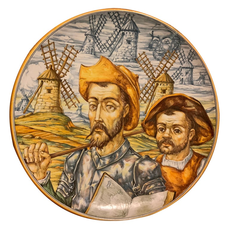 Huge Hand Painted Spaniard Majolica Wall Plate of Don Quixote and Sancho For Sale