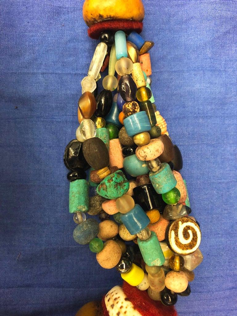 Huge Handmade Antique Moroccan Berber Necklace, Amber Copal, Shells, Gemstones For Sale 3