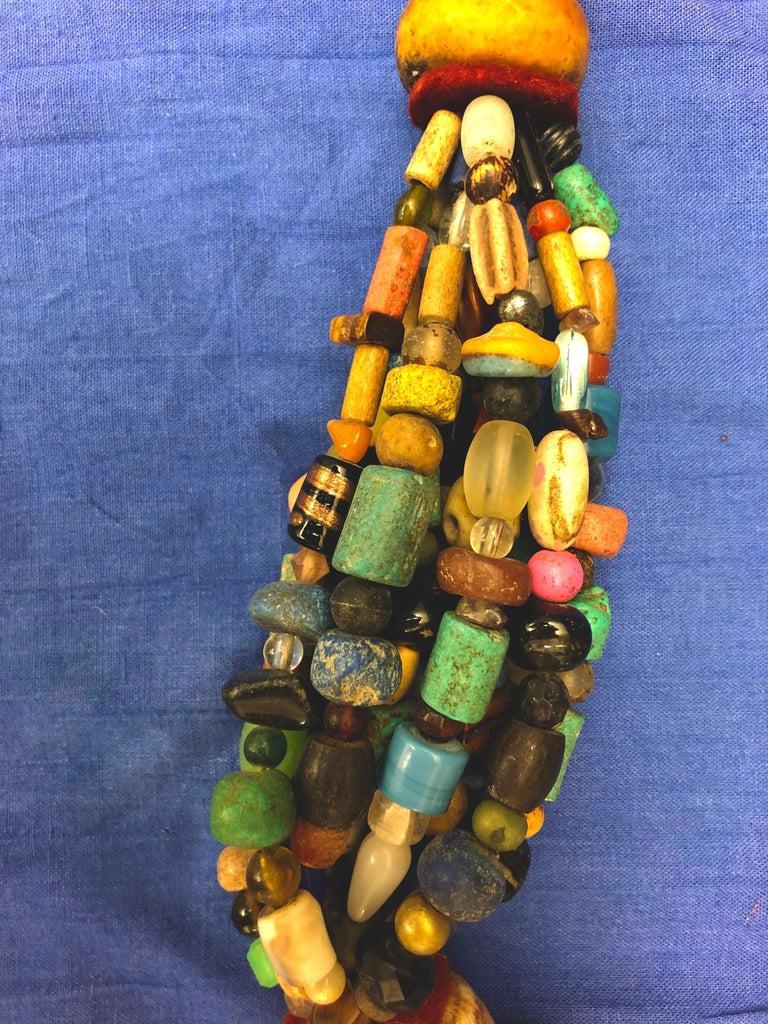 Huge Handmade Antique Moroccan Berber Necklace, Amber Copal, Shells, Gemstones For Sale 4
