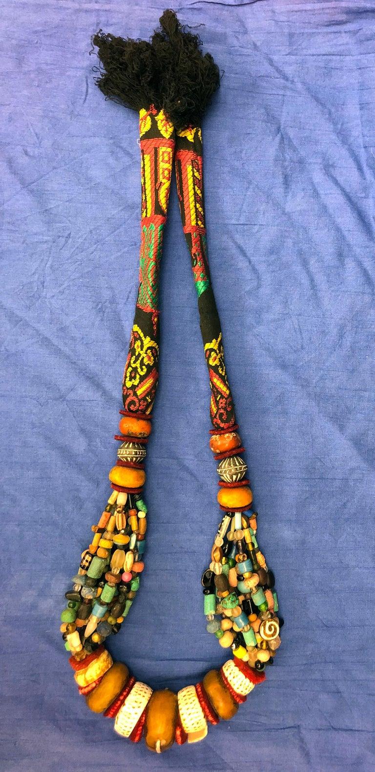 Huge Handmade Antique Moroccan Berber Necklace, Amber Copal, Shells, Gemstones For Sale 5