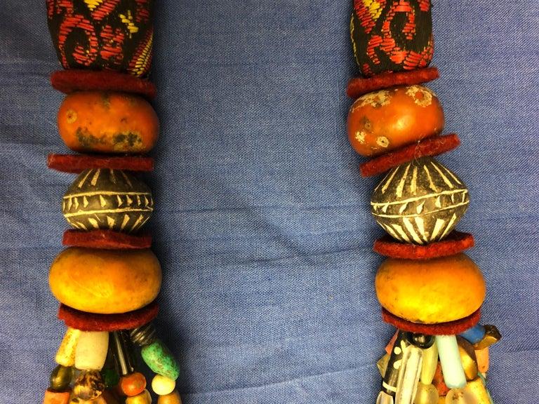 Huge Handmade Antique Moroccan Berber Necklace, Amber Copal, Shells, Gemstones In Good Condition For Sale In Vineyard Haven, MA
