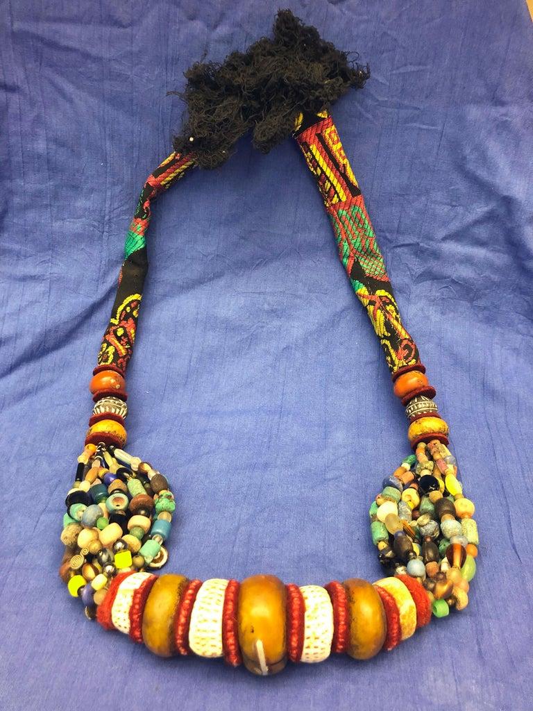 20th Century Huge Handmade Antique Moroccan Berber Necklace, Amber Copal, Shells, Gemstones For Sale