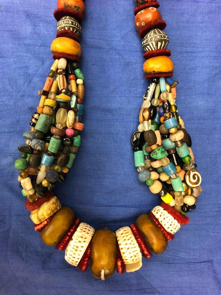 Huge Handmade Antique Moroccan Berber Necklace, Amber Copal, Shells, Gemstones For Sale 2