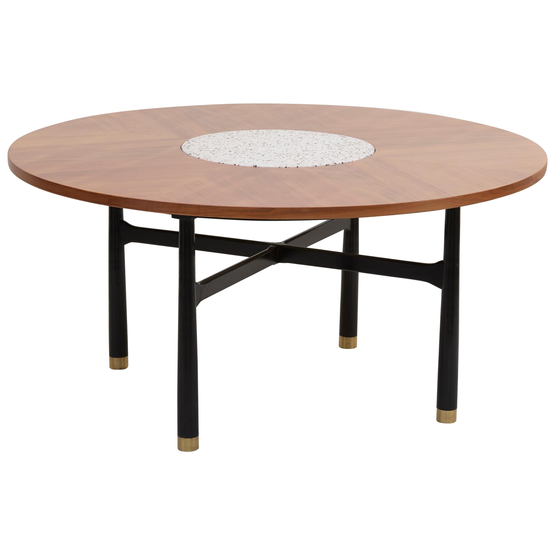 Huge Harvey Probber Walnut and Terrazzo Marble Table